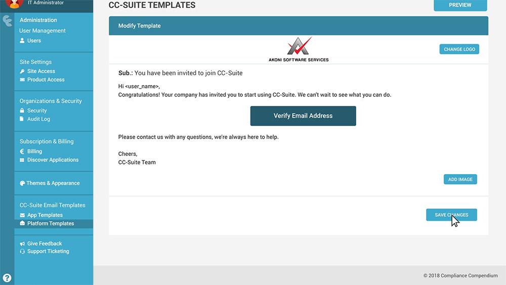 Platform Templates - Edit - Upload Logo - Compliance Compendium